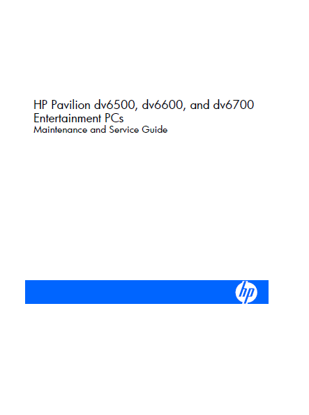 Hewlett Packard Pavilion dv6500 Entertainment PCs Service Manual