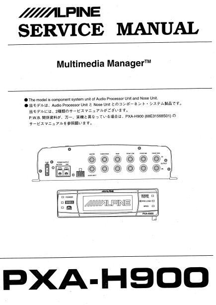 ALPINE PXA-H900 Multimedia Manager Service Manual
