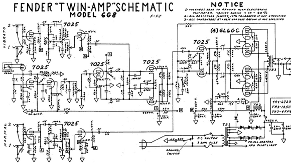 FENDER Twin-Amp 6G8 Schematic