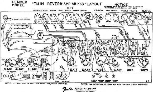 FENDER Twin Reverb AB763 Layout