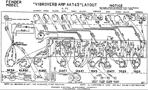 FENDER Vibroverb-Amp AA763 Layout