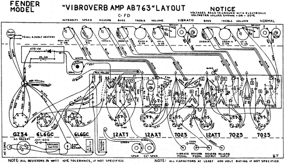 FENDER Vibroverb-Amp AB763 Layout