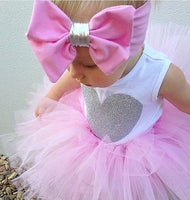 Newborn Infant Baby Girls Clothes Sleeveless Heart Romper + Tutu Skirt + Headband