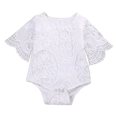 Baby Girls White Lace Jumpsuit Sleeve - Babies Are Beautiful Store