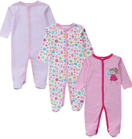 3 PCS 100% Cotton Long Sleeves Baby Pajamas