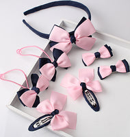 7pcs of Lovely Baby Girls Hair Accessories (Hairband, Hairpins, Gum for Hair, Bow)