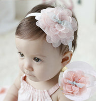 1PC New High Quality Cute Kids Headband Big Flowers Lace
