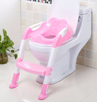 Non-slip folding potty trainer safety seat chair step with adjustable ladder