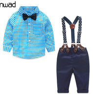 2017 Baby Gentleman Suit Plaid Sets (Shirt+Bow Tie+Suspender Trousers)