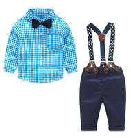 2017 Baby Gentleman Suit Plaid Sets (Shirt+Bow Tie+Suspender Trousers) - Babies Are Beautiful Store