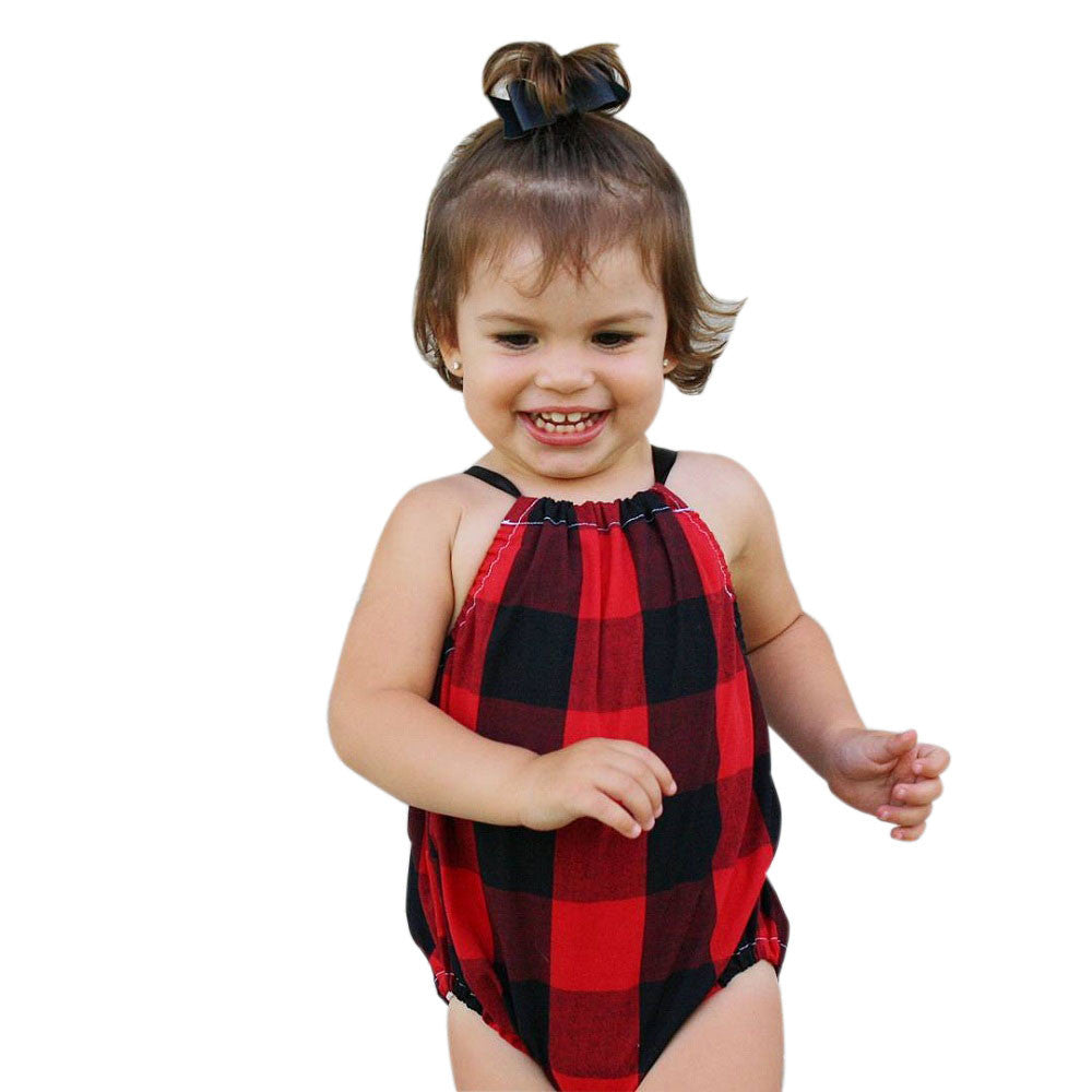 Plaid printed baby girls romper
