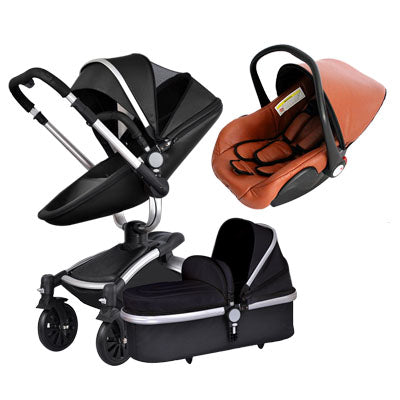 Baby strollers 360 rotate leather folding light baby car (3 in 1 baby)