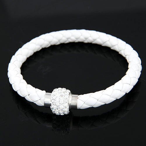 YYW Unisex Crystal Stones Magnetic Clasp Rubber Bracelets