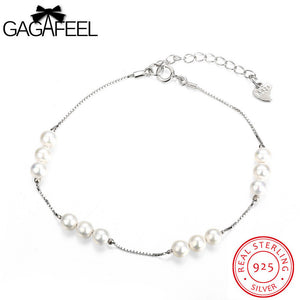 GAGAFEEL 925 Sterling Silver Jewelry Simulated Pearl Bracelet