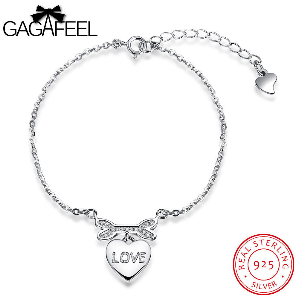 GAGAFEEL 925 Sterling Silver White CZ Crystal Love Heart Bracelet