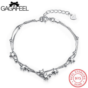 GAGAFEEL 925 Sterling Silver Link Chain Bangle Bracelet White CZ Crystal Star