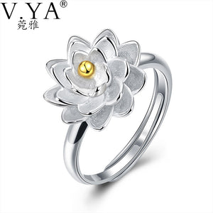 925 Sterling Silver Romantic Flower Gold Centered Ring