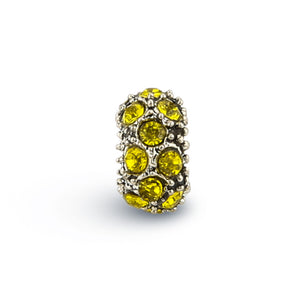 V YA Yellow Cubic Zirconia Round Beads Fit For Pandora