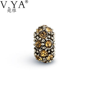 V YA Vintage Cubic Zirconia Round Beads Fit For Pandora