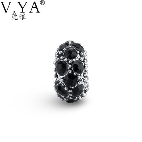 V YA Black Cubic Zirconia Round Beads Fit For Pandora