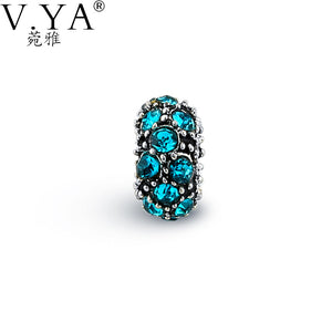 V YA Blue Cubic Zirconia Round Beads Fit For Pandora