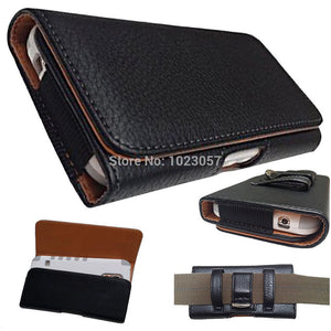 SLEVE Black Leather Flip Belt Clip Pouch Cover