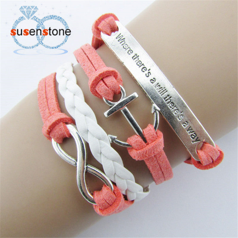 SUSENSTONE Nautical Leather Rope Anchor Infinity Bracelet