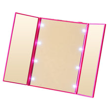 Tri-Fold LED Lights Travel Makeup Mirror
