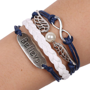 Unisex Believe Wing Pearl Leather Chain Bracelet