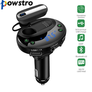 POWSTRO USB Car Charger with 5 in 1 LCD Display MP3 Bluetooth FM Transmitter