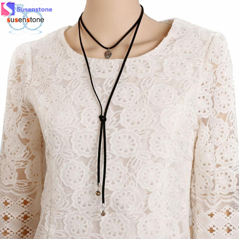 SUSENSTONE Women Fashion Black Velvet Necklace