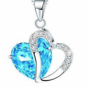 SUSENSTONE Heart-Shaped Zircon Crystal Necklace