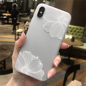 BONVAN 3D Relief Flower Silicone TPU Soft Phone Translucent Cover