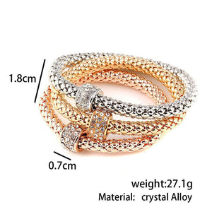 3pcs Charm Women Bracelet Gold Silver Rose Gold Rhinestone Bangle Jewelry Set