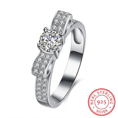 925 Sterling Silver Bow Round Wedding Ring