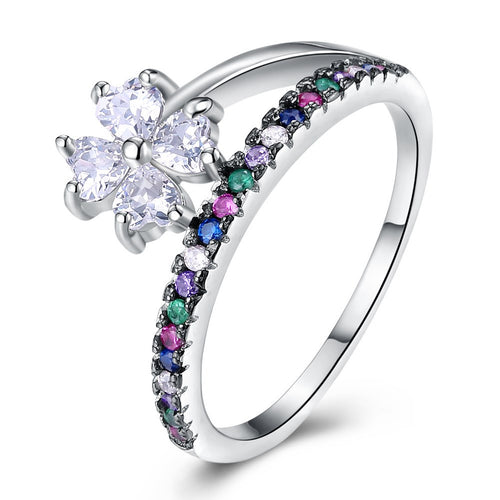 925 Sterling Silver Flower Rainbow Zircon Ring