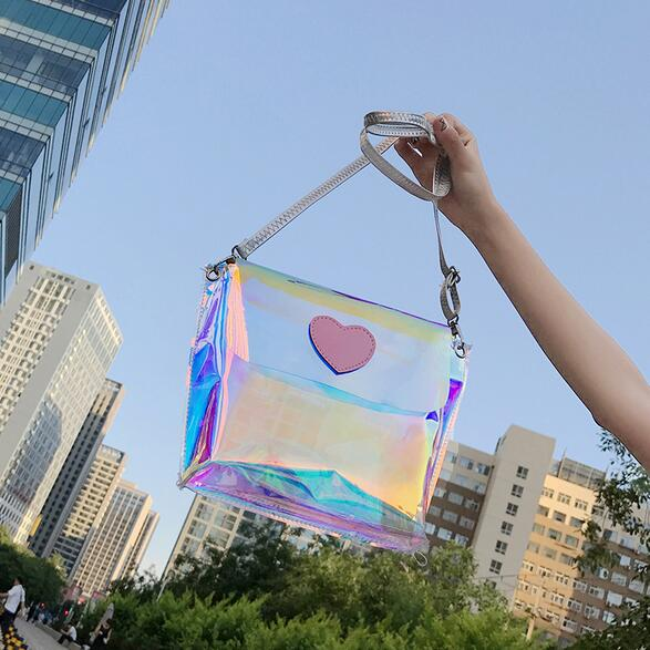 Pink Heart Transparent Beach Messenger Bag