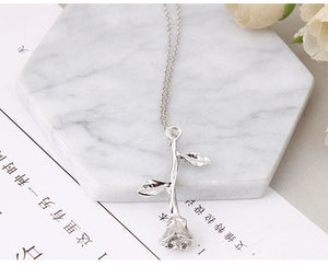 GHRQX Delicate Rose Flower Pendant Necklace