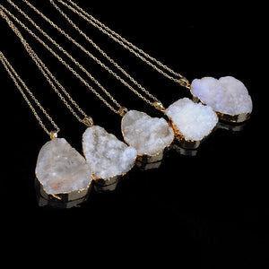 Natural Stone Crystal Pendant Necklace