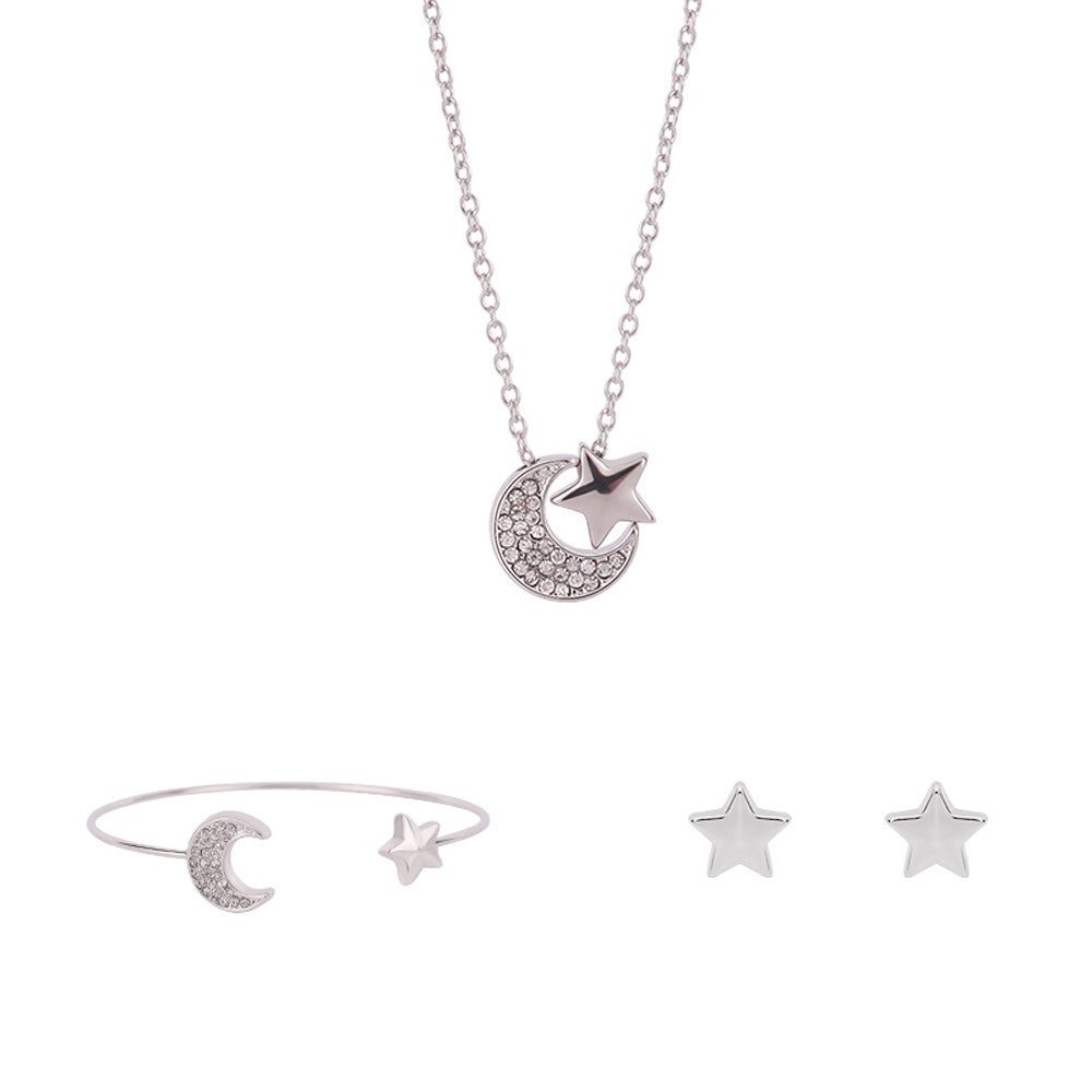 Platinum Moon and Stars Rhinestone Set