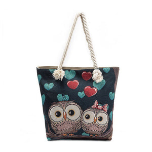 HENGSHENG Cute Owls Shoulder Large Capacity Beach Bag