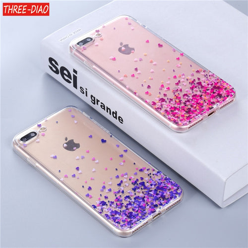 THREE-DIAO Silicone Cartoon and Glitter Cases For iPhone
