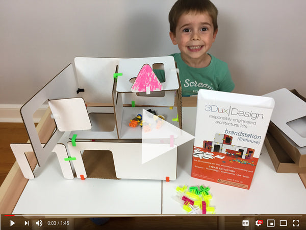 watch how one little boy plays with 3DuxDesign cardboard construction set