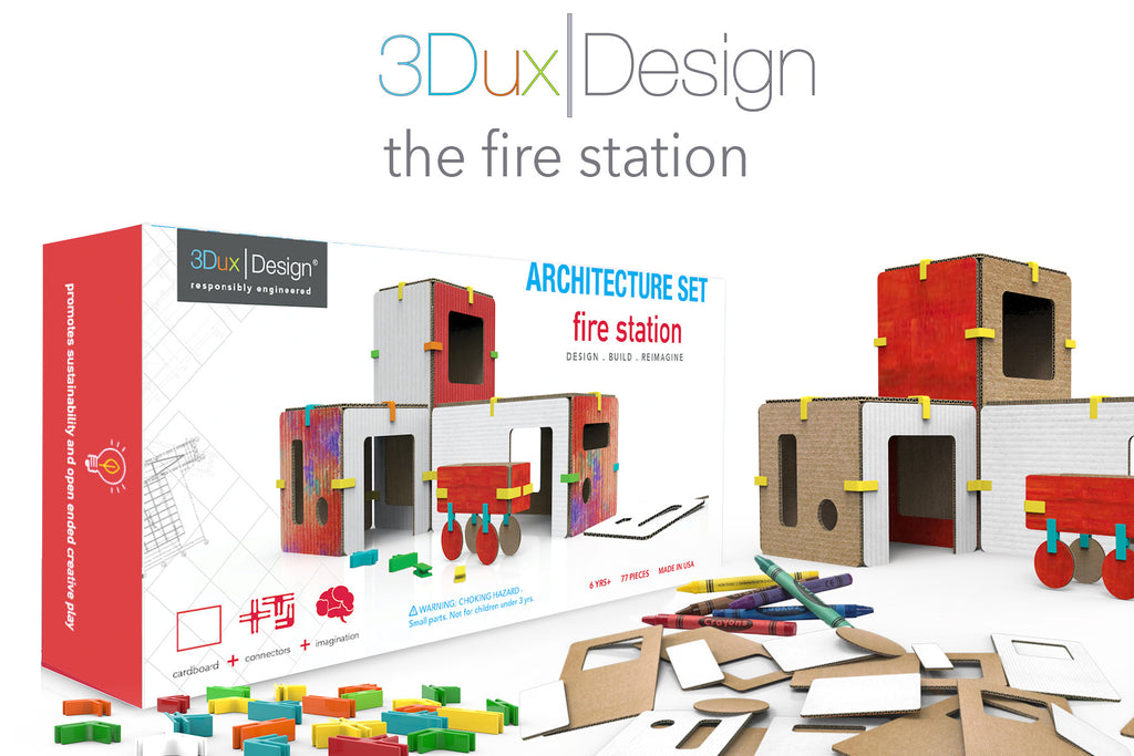 the fire station cardboard building set with connectors and crayons