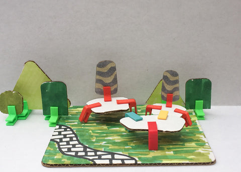 zen garden for two cardboard model