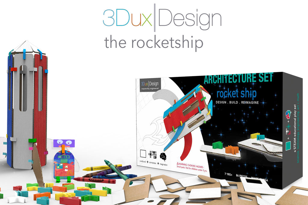 the cardboard rocketship model set with extra pieces