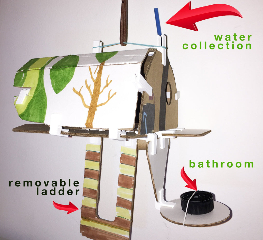 closeup of hanging hut with cardboard and 3DuxDesign for design thinking curriculum modern