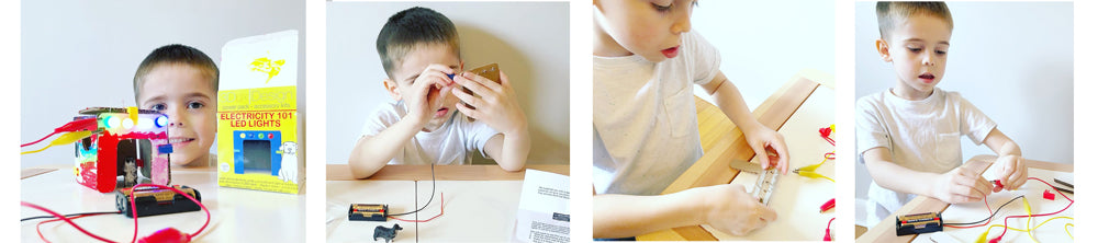 5 year old boy learns LED lighting and circuits with 3DuxDesign LED lighting and electricity STEM kit