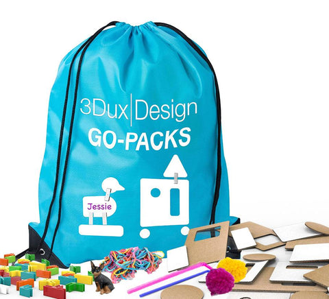 3dux design travel bag and maker material kit  with content shown
