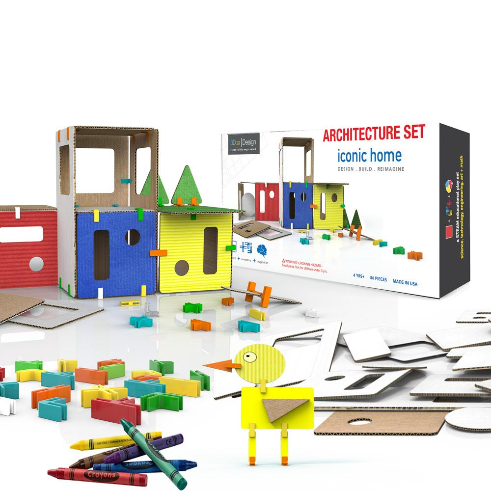 cardboard and connectors architectural model set for children learning STEM and STEAM for use in school home and maker space